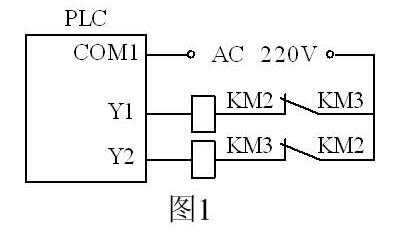 应在plc的输出电路中,设置与图1相同的硬件互锁电路